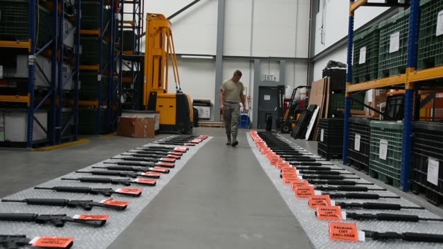 air national guard logistics readiness squadron pack and prepare items for shipping at ramstein air base, germany, june 1-15, 2019 - weaponry stock videos & royalty-free footage