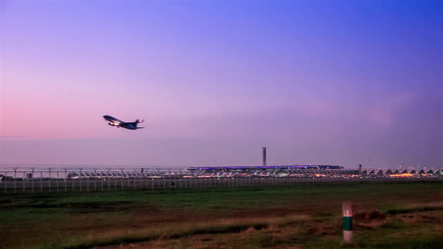 air plane taking off on airport