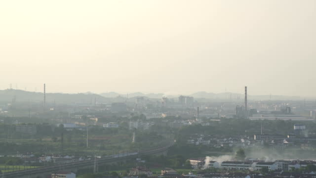 Air pollution from factory in Fuzhou city