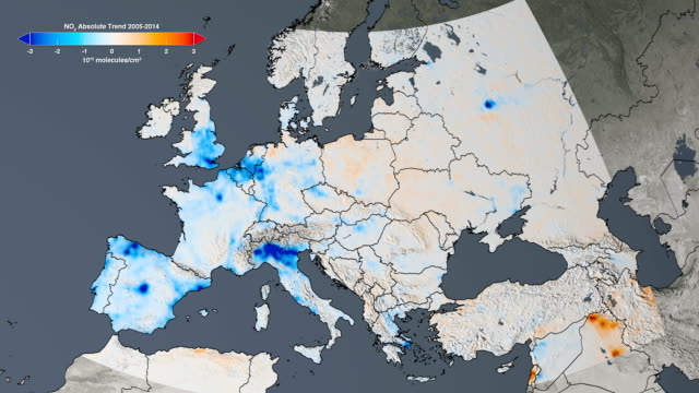 stockvideo's en b-roll-footage met air quality in europe, 2005-2014 - vermindering