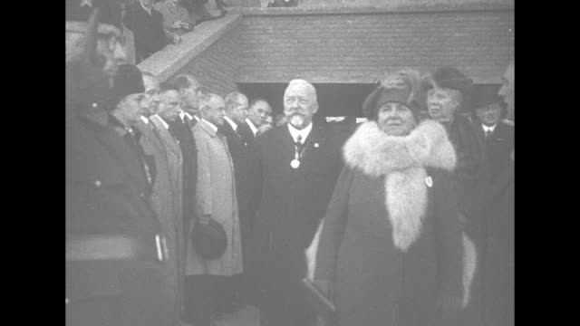 air raid precautions vehicles, equipment and wardens in stadium field / queen wilhelmina of the netherlands, wearing coat and fur scarf, arrives in... - fire hose stock videos & royalty-free footage
