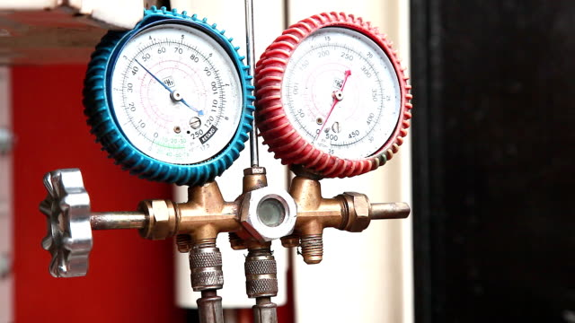 air regulator gauge on air condition - air conditioner stock videos and b-roll footage