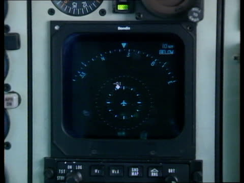 luton airport tcms flight deck interior as pilots in f/g plane moves along runway ms british aerospace bae 125 jet aircraft taking off int tcms... - synthesizer stock videos & royalty-free footage