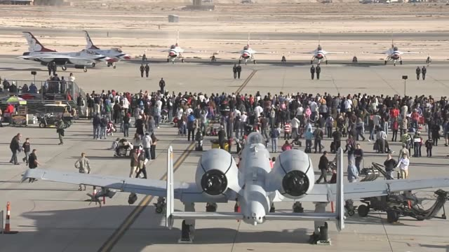 air show held at nellis air force base - thunderbirds stock videos and b-roll footage
