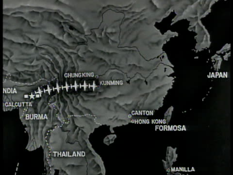 air support routes marked from key cities calcutta chung king kunming spoked flight areas covering asian coastline - westbengalen stock-videos und b-roll-filmmaterial