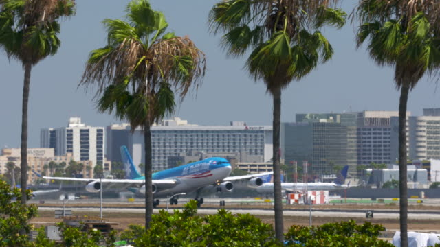 air tahiti nui airbus a340 - territori francesi d'oltremare video stock e b–roll