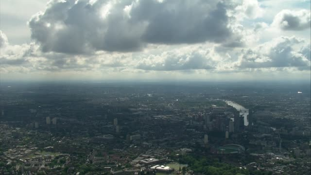air views of london and world war ii flypast; england: london: ext air view central london including the shard - world war ii stock-videos und b-roll-filmmaterial
