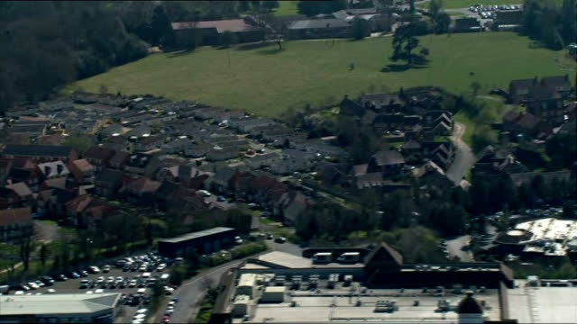 air views of oxfordshire coventry and dcs europe shampoo factory in stratford upon avon and newbury air views of newbury houses on edge of town /... - oxfordshire stock videos and b-roll footage