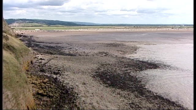 air views of severn estuary and surrounding area england air views / aerials of the headland near the mouth of the severn showing abandoned gun... - river severn stock videos & royalty-free footage