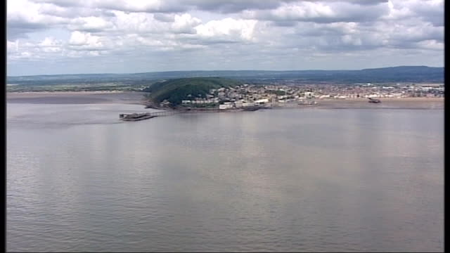 air views of severn estuary and surrounding area more air views / aerials of the headland near the mouth of the severn very brief shot of... - coastal feature stock videos & royalty-free footage