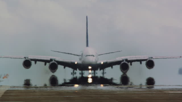 Airbus A380 (Lufthansa) lands in early morning haze at SFO