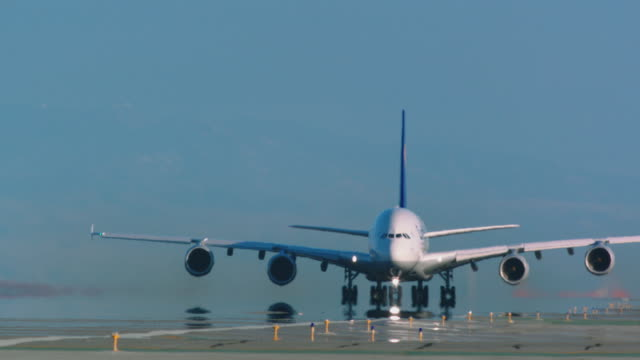 Airbus A380 Lufthansa taxis and lifts off on departure from SFO