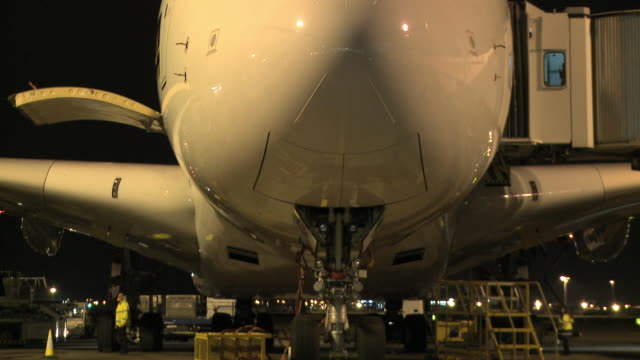 CU TU Airbus A380 on tarmac at night, London, United Kingdom