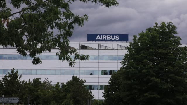 airbus logo appears on the airbus defence and space aeronautical industry site on july 2 2020 in elancourt france european passengerjet maker airbus... - innovation stock videos & royalty-free footage