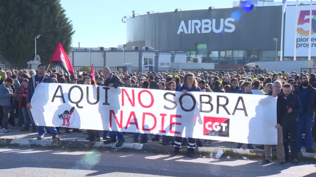 airbus workers concentrate in front of the airbus headquarters against layoffs - unemployment stock videos & royalty-free footage
