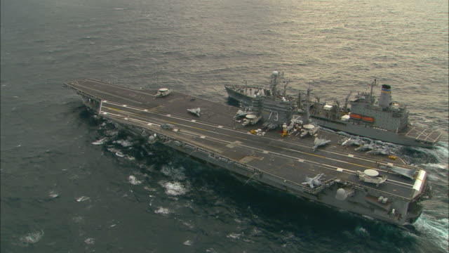AERIAL, MS, aircraft carrier and refueling vessel at sea