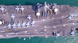 Aircraft carrier battleship military navy nuclear ship carrier and loading fighter jet aircraft