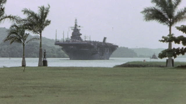 usn aircraft carrier passing through the canal stiff breeze tossing the palm trees / panama - 中央アメリカ点の映像素材/bロール