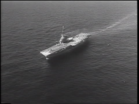 us aircraft carrier uss bon homme richard on ocean / cuban missile crisis / newsreel - cuban missile crisis stock videos & royalty-free footage