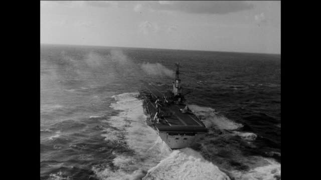stockvideo's en b-roll-footage met aircraft carriers and war ships in the mediterranean / suez canal crisis 1950's - suezcrisis