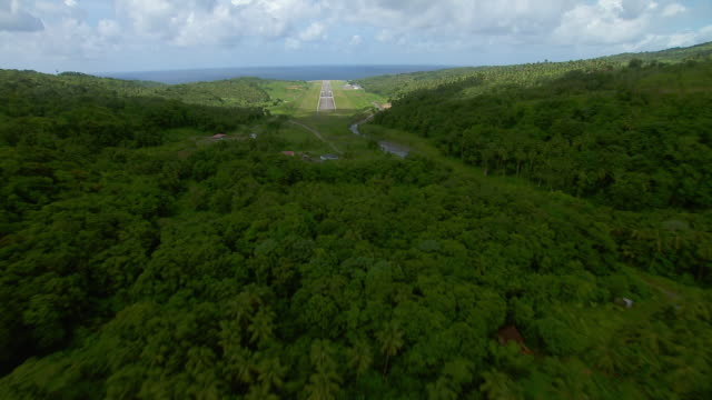 aircraft pov landing at melville hall airfield on the caribbean island of dominica. - campo d'aviazione video stock e b–roll