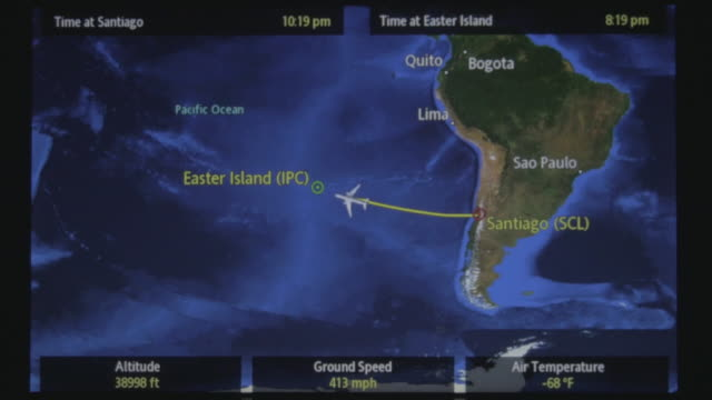 Aircraft map flight information screen while travelling to Easter Island