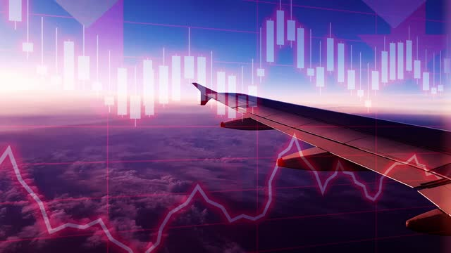 aircraft mid flight scene with negative chart and graph data. concept piece to indicate declining tourism, gdp, stock market crash, recession, depression, inflation, deflation, bear market, poor economic and business performance - number stock videos & royalty-free footage
