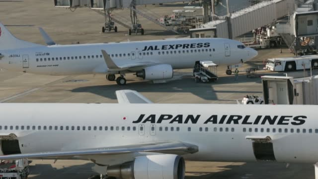 aircraft operated by japan airlines co. , front, and jal express co., a subsidiary of jal, stand parked at haneda airport in tokyo, japan, on sunday,... - insignier bildbanksvideor och videomaterial från bakom kulisserna