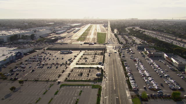 Aircraft point of view approaching Hawthorne Municipal airport in Los Angeles County, California.