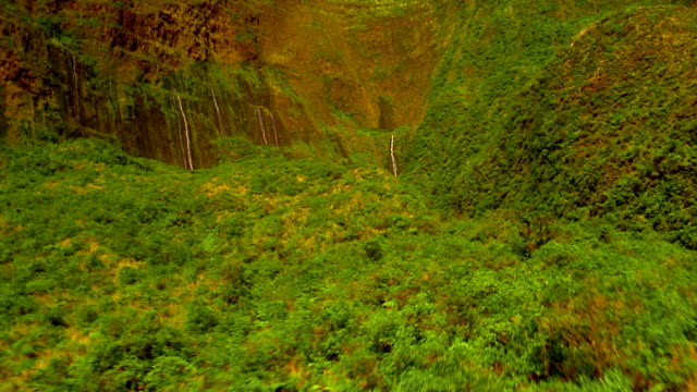 stockvideo's en b-roll-footage met aerial aircraft point of view low over lush green hills + valleys toward series of waterfalls / hawaii - heuvel