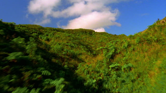 stockvideo's en b-roll-footage met aerial aircraft point of view low over lush hills + valleys toward immense green valley + mountains / hawaii - heuvel