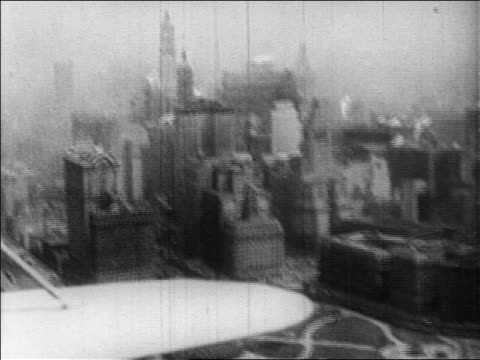 b/w 1929 aerial aircraft point of view new york city skyscrapers / newsreel - 1920 1929 stock videos and b-roll footage