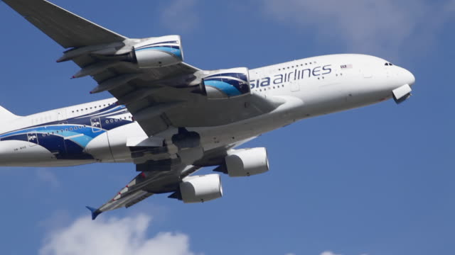 a380 aircraft takes off at london - malaysia stock videos & royalty-free footage