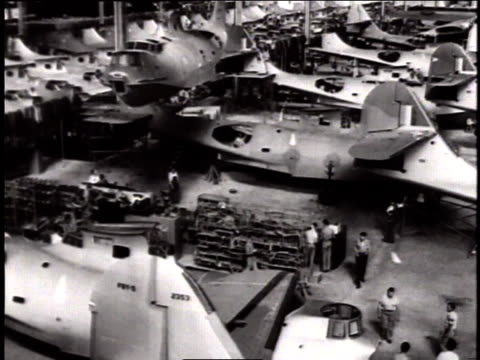pan aircraft under construction in factory setting / naval aircraft factory philadelphia pennsylvania united states - weapon stock videos & royalty-free footage