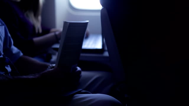 Airline passenger reading and using laptop on plane