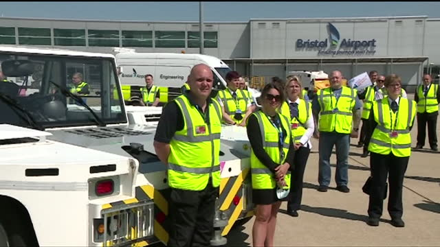 airline staff protest on runway at bristol airport over ongoing covid travel restrictions having a huge effect on the travel industry - image effect stock videos & royalty-free footage