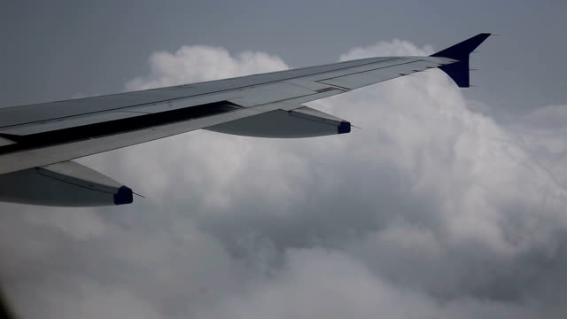 Airliner flying in clouds