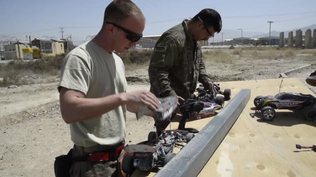 airmen assigned to the 455th expeditionary aircraft maintenance squadron stationed at bagram airfield afghanistan recently finished building a bigger... - bagram stock-videos und b-roll-filmmaterial