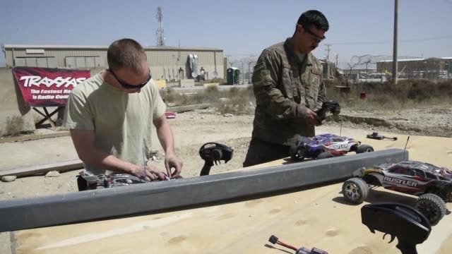 airmen assigned to the 455th expeditionary aircraft maintenance squadron stationed at bagram airfield, afghanistan recently finished building a... - bagram stock videos & royalty-free footage