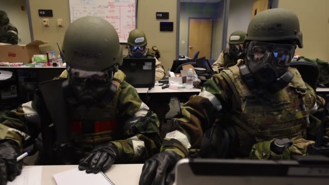 airmen participate in jersey devil 19 exercise where they operate multiple navigational aid sytems, run precision approach radar simulations and man... - luftwaffe stock-videos und b-roll-filmmaterial