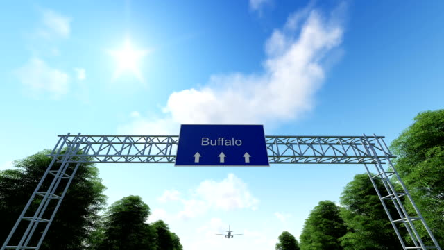 airplane arriving to buffalo airport - buffalo new york state stock videos & royalty-free footage