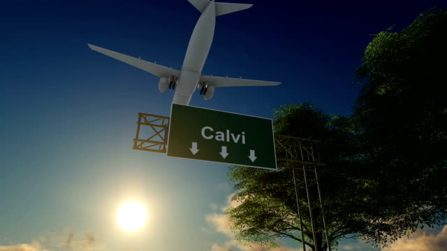 airplane arriving to calvi airport to france - calvi stock videos and b-roll footage