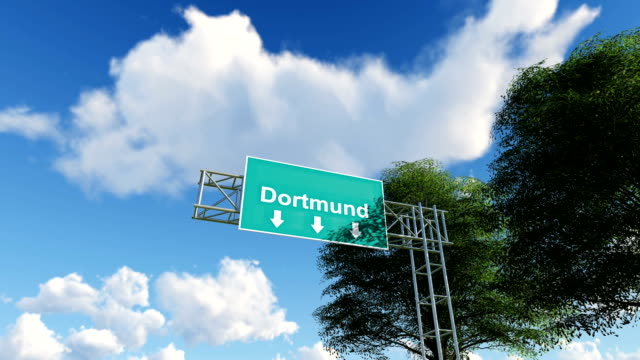 airplane arriving to dortmund airport to germany - dortmund city stock videos and b-roll footage