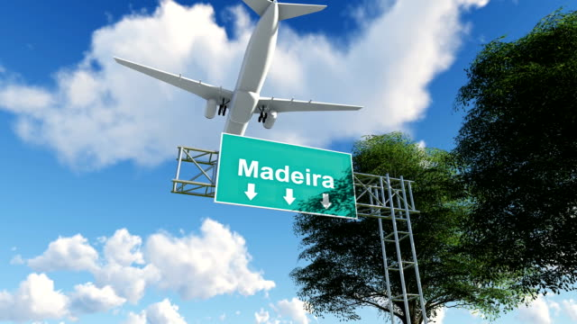 airplane arriving to madeira airport to portugal - madeira stock videos and b-roll footage