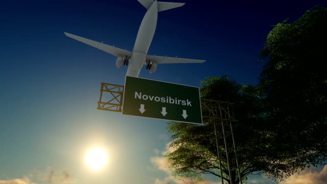 Airplane Arriving to Novosibirsk Airport to Russia