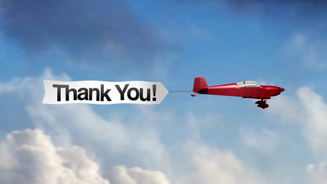 airplane banner - thank you (center) - short phrase stock videos and b-roll footage