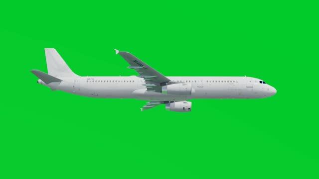 vídeos de stock e filmes b-roll de airplane flies on green screen background, side view, chroma key, isolated background - avião