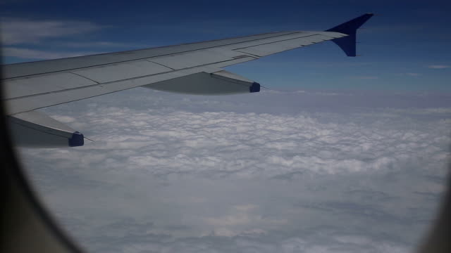 Airplane flying in heavenly in the space