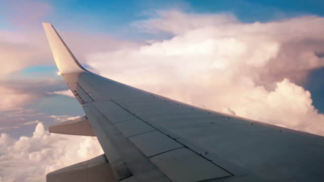 Airplane flying into the storm