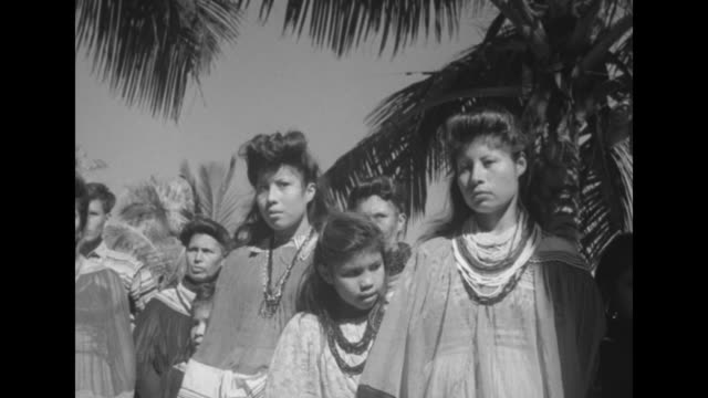 airplane flying low overland passing behind palm trees / seminole women and children / men in elaborate striped jackets / mothers and children - ネイティブアメリカン点の映像素材/bロール